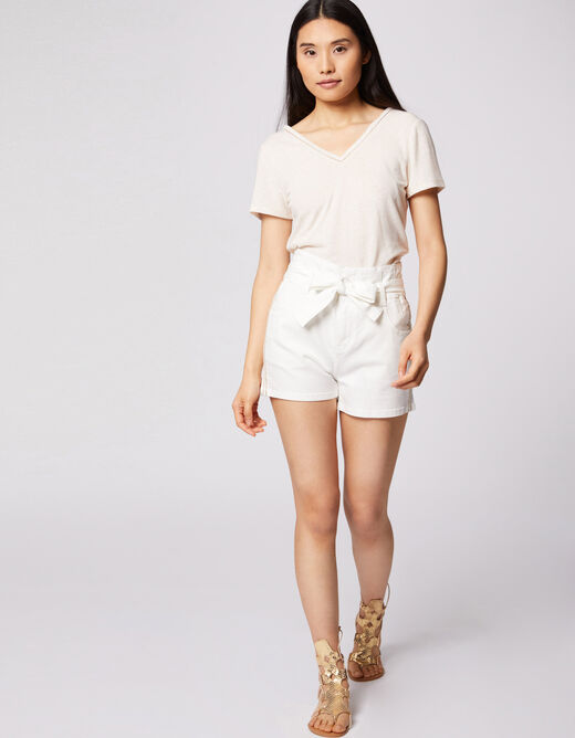 High-waisted straight belted shorts ecru ladies'