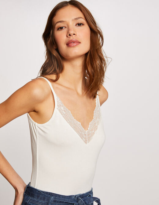 Vest top with thin straps and lace ecru ladies'
