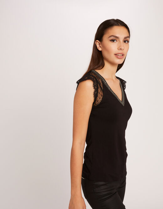 Short-sleeved t-shirt with laced back black ladies'
