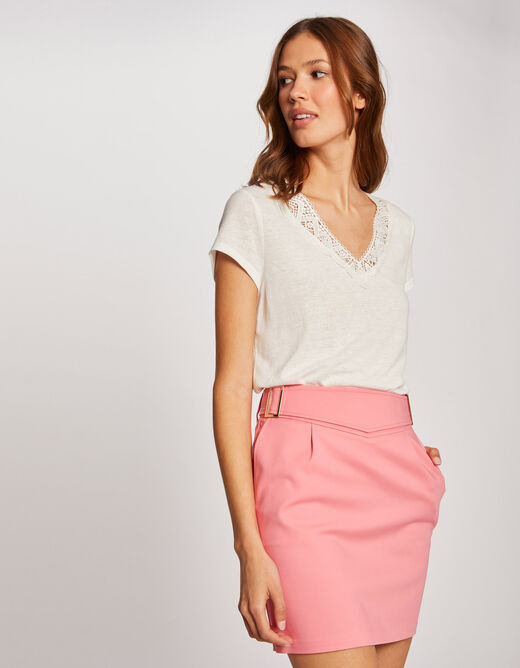 Fitted skirt with buckles fuchsia ladies'