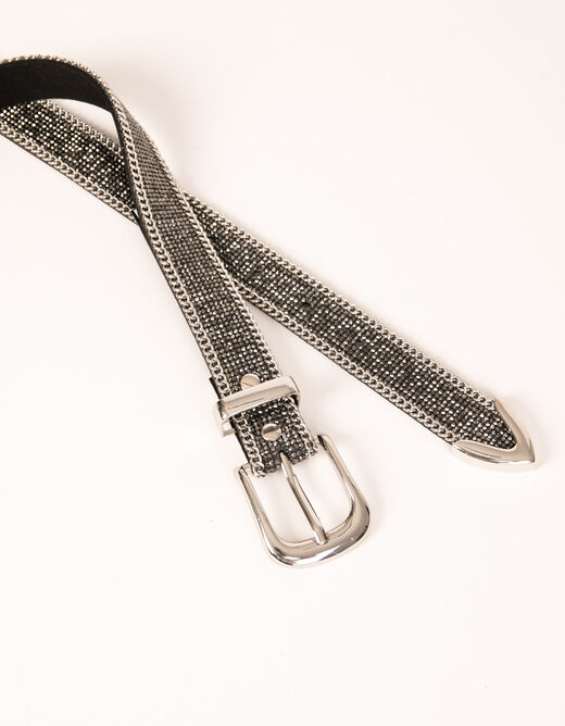 Belt with rhinestones and chains mid-grey ladies'