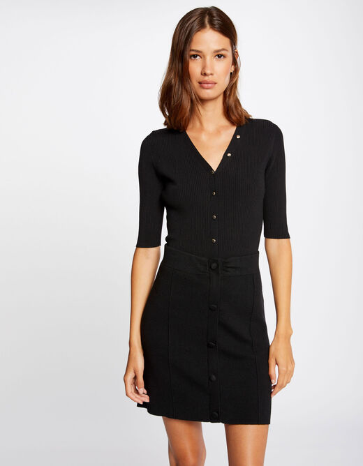 Knitted straight buttoned skirt black ladies'