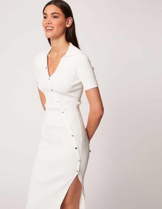 Fitted buttoned jumper dress with slit ecru ladies'