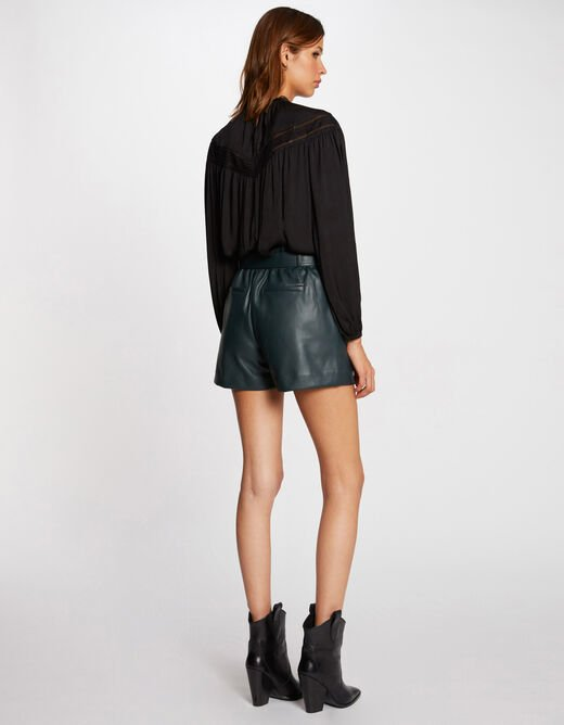 Long-sleeved blouse with lace black ladies'
