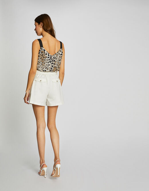 Blouse wide straps with leopard print sand ladies'