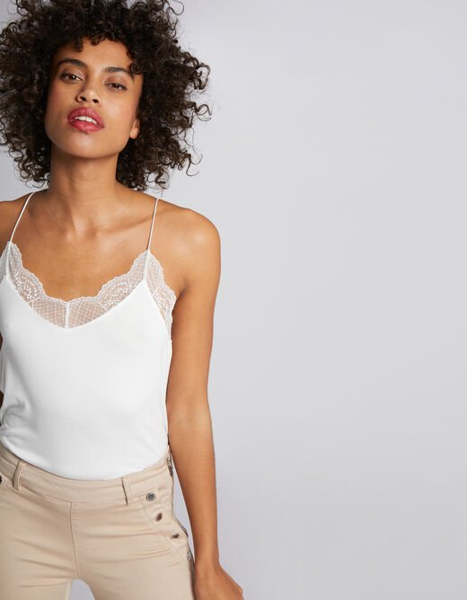 Vest top with fine straps and lace ecru ladies'