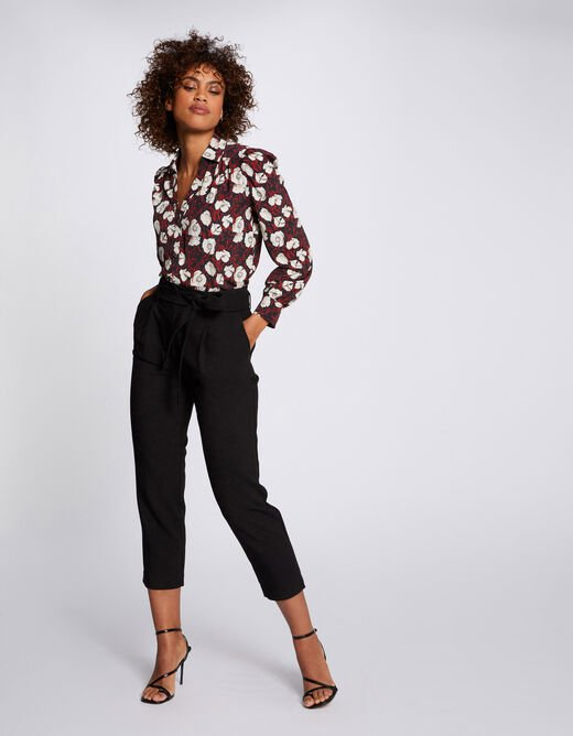 Cropped belted cigarette trousers black ladies'