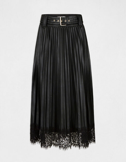 Midi A-line pleated skirt with lace black ladies'