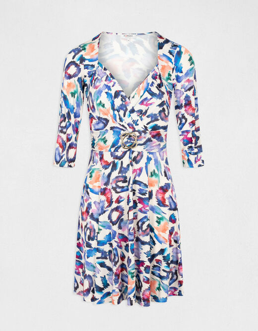 A-line printed dress wrap-over effect multico ladies'
