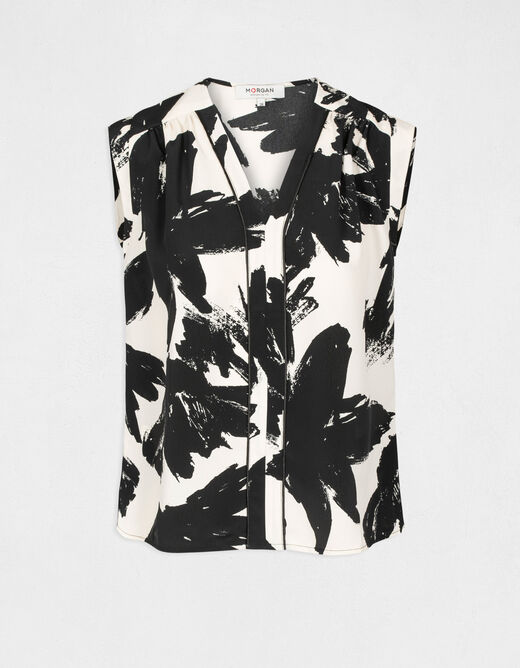 Sleeveless blouse with abstract print multico ladies'