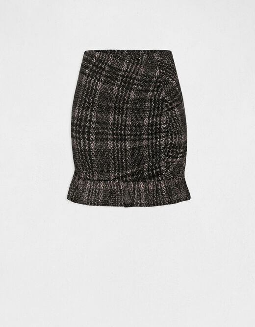 Checked shirred fitted skirt anthracite grey ladies'