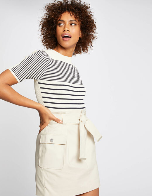 High-waisted belted straight skirt beige ladies'