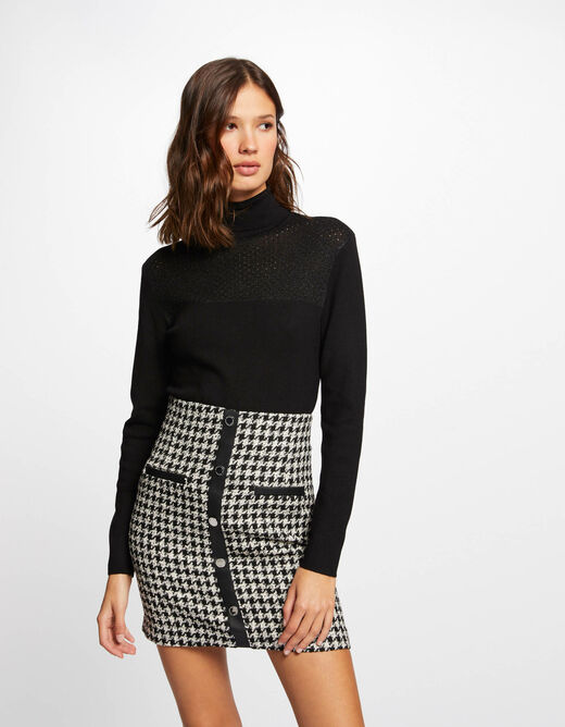 Fitted skirt with houndstooth print black ladies'