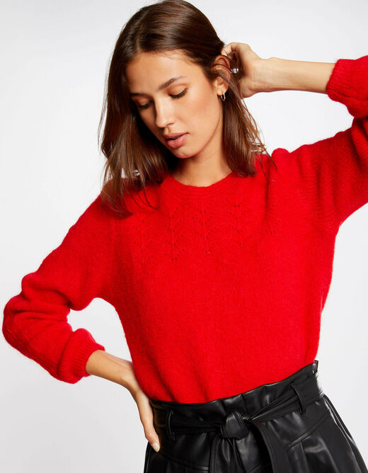 Long-sleeved jumper with round neck red ladies'
