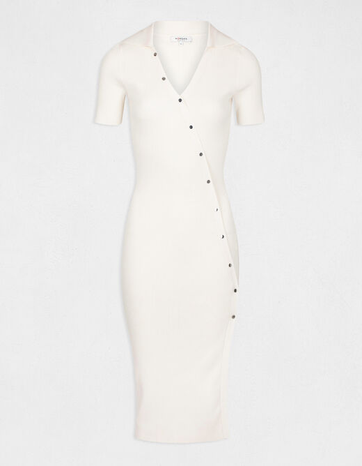 Fitted buttoned jumper dress with slit ivory ladies'