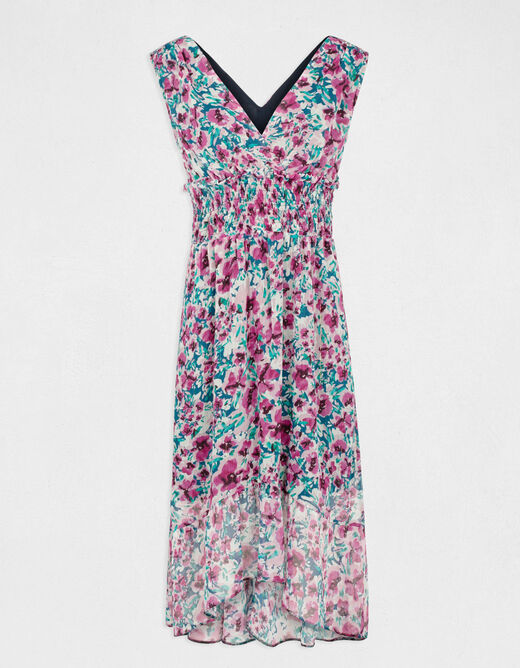 Midi A-line dress with floral print pink ladies'