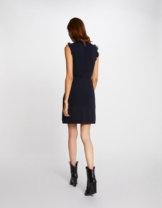 Fitted jumper dress with ruffles navy ladies'