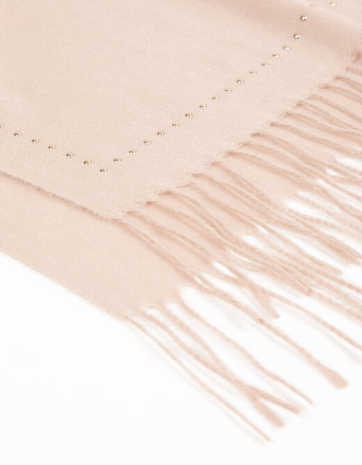 Scarf with fringes and studs pink ladies'