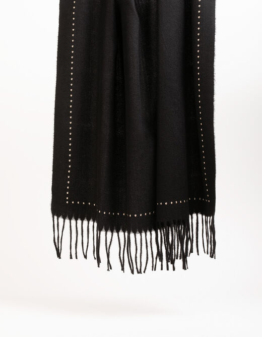 Scarf with fringes and studs black ladies'