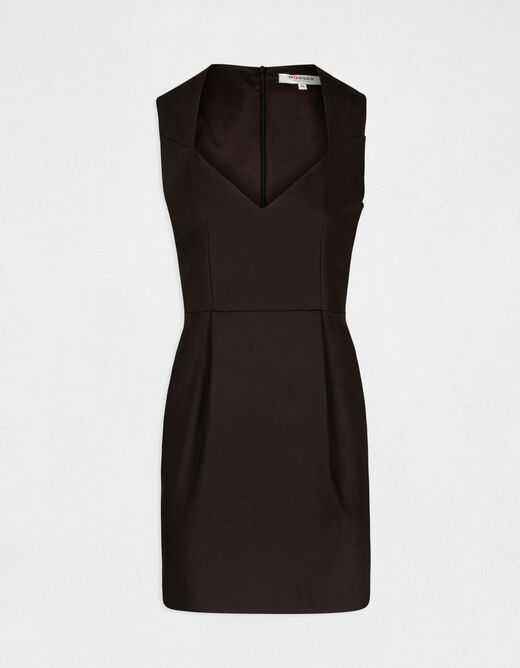 Fitted dress with sweetheart neckline black ladies'