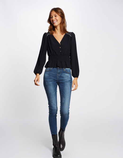 Long-sleeved t-shirt with smocked waist navy ladies'