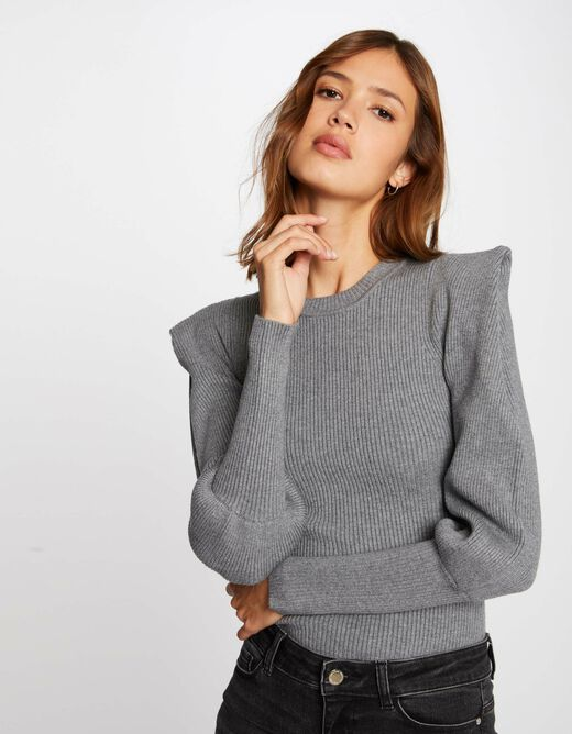Long-sleeved jumper with padding light grey ladies'