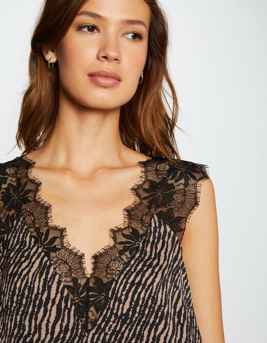 Printed blouse with wide straps multico ladies'