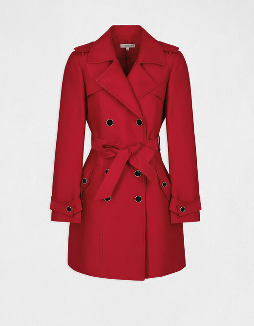 Straight buttoned and belted trenchcoat red ladies'