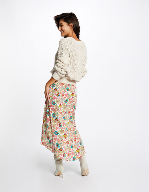 Maxi wrap skirt with floral print multico ladies'