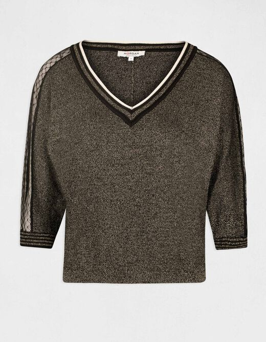 Long-sleeved jumper with lace gold ladies'