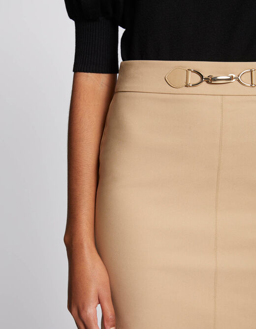 High-waisted fitted skirt with ornament sand ladies'