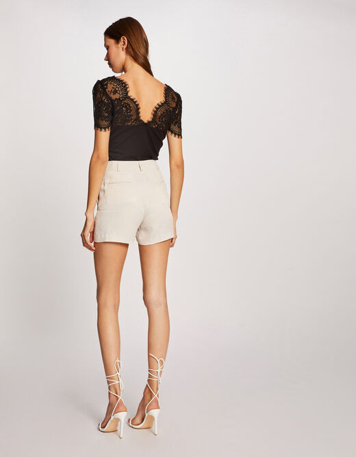 Short-sleeved t-shirt with lace black ladies'