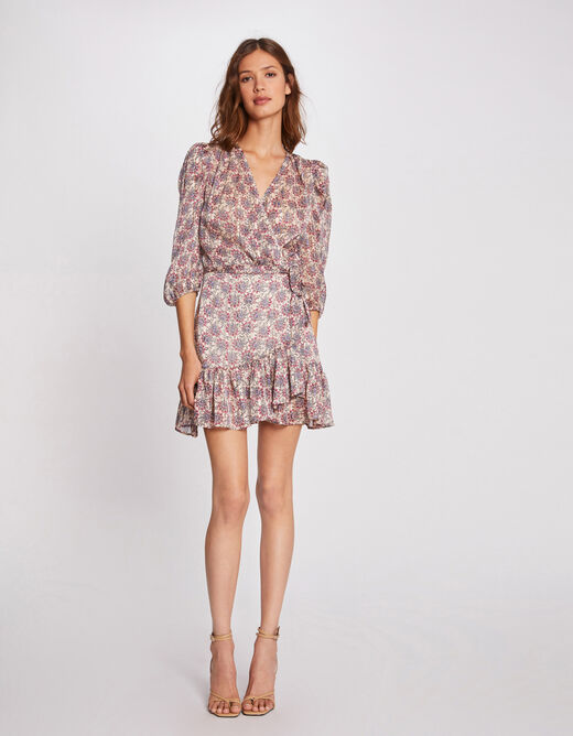 Straight printed dress wrap-over effect multico ladies'
