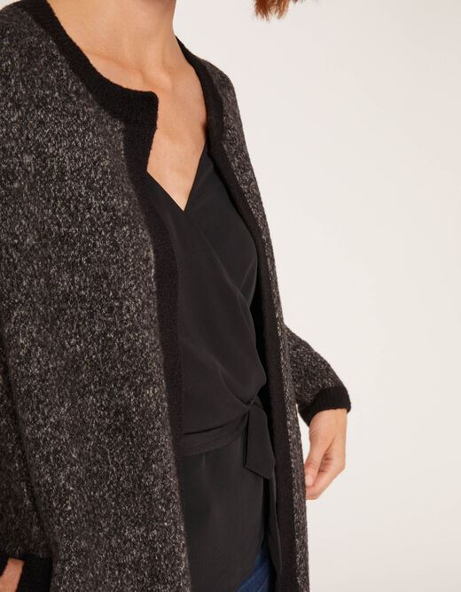 Long cardigan with long sleeves anthracite grey ladies'