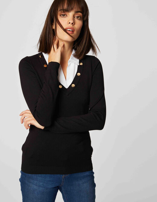 Long-sleeved jumper with shirt collar black ladies'