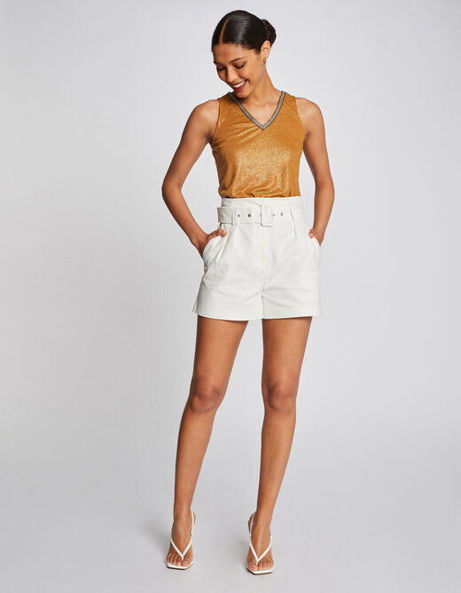 Vest top with large straps and strip ochre ladies'