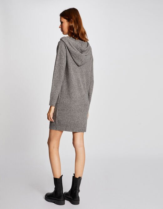 Straight jumper dress with hood anthracite grey ladies'