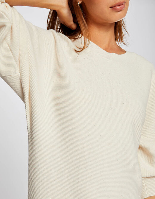 Straight jumper dress with long sleeves ivory ladies'