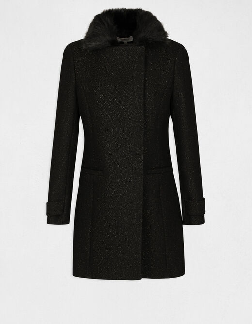 Waisted coat with faux fur collar black ladies'