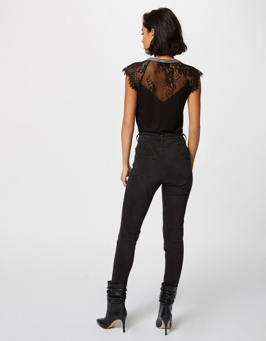 Short-sleeved t-shirt with lace details black ladies'