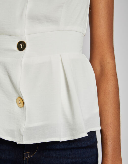 Blouse with wide straps and buttons ecru ladies'