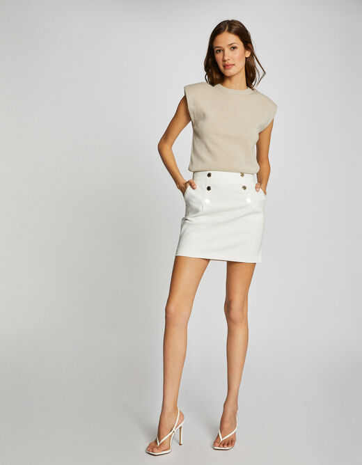 High-waisted straight skirt with buttons ecru ladies'