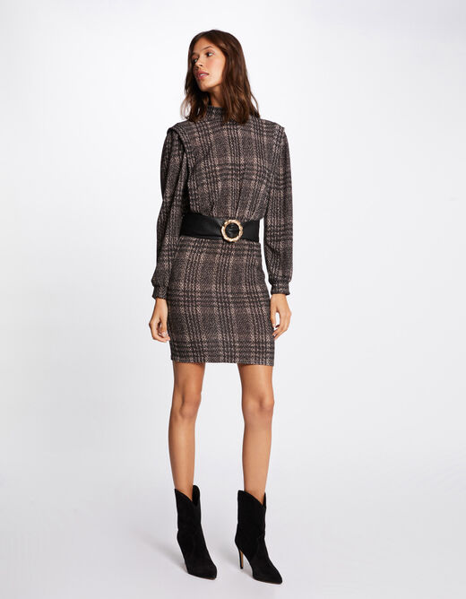 Checked fitted dress anthracite grey ladies'