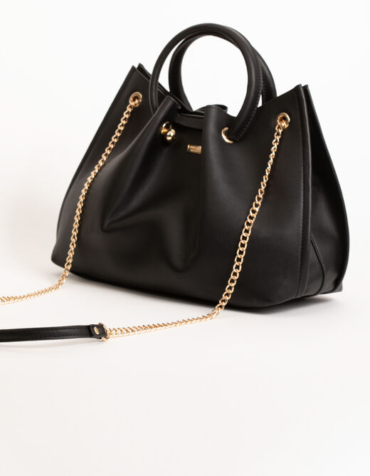 Tote bag with chain strap black ladies'