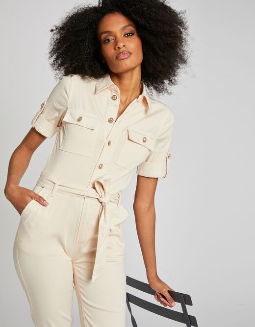 Straight buttoned jumpsuit with belt pale pink ladies'