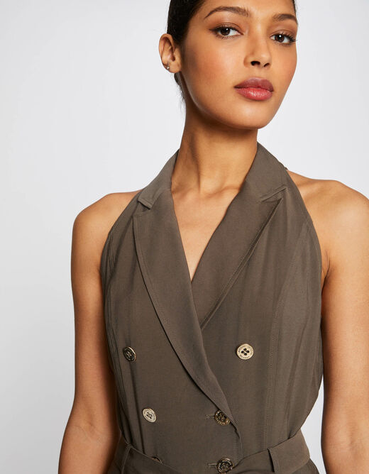 Belted straight playsuit with buttons khaki ladies'