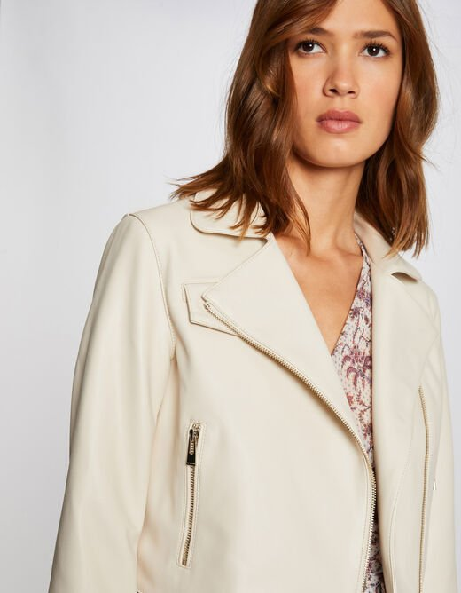 Straight jacket with 3/4-length sleeves ivory ladies'