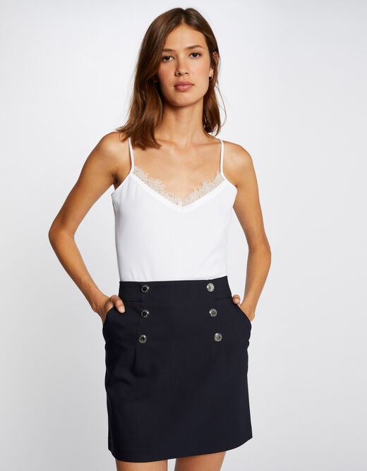 High-waisted straight skirt with buttons navy ladies'