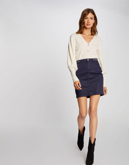 Fitted skirt with wet effect navy ladies'