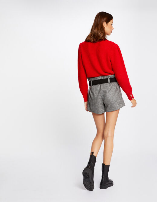 Long-sleeved jumper with buttons red ladies'